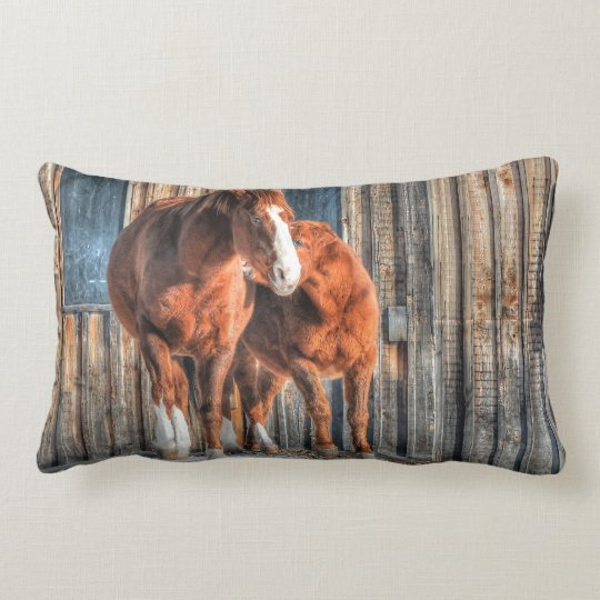 Two Cheeky Horses and a Barn Equine Photo Lumbar Pillow