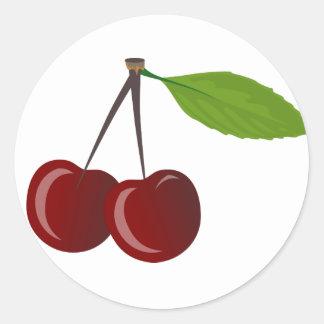 Two Cherries Round Sticker