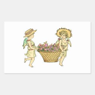 Two Cherubs Carrying Flowers Sticker