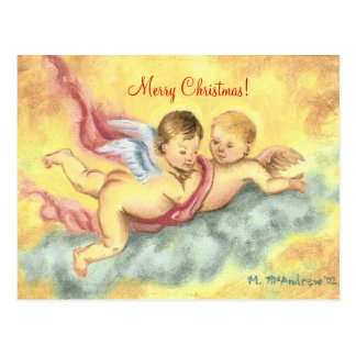 Two Cherubs Christmas PostCard (angels)