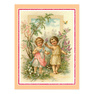 """Two Cherubs in a Garden"" Vintage Postcard"