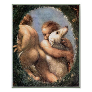 Two Cherubs, One with a Dog Poster