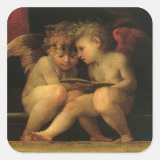 Two Cherubs Reading by Rosso Fiorentino Square Sticker