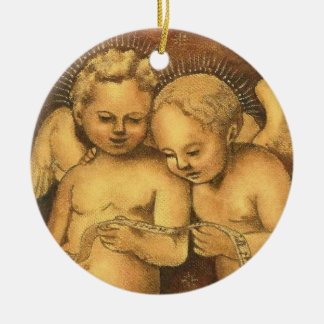 """Two Cherubs Singing"" Christmas Ornament-Angels Ceramic Ornament"