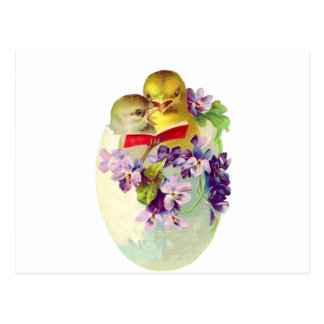 Two Chicks in Egg Shell Sing From Songbook Postcard