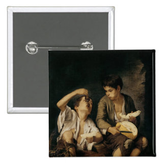 Two Children Eating a Melon and Grapes, 1645-46 2 Inch Square Button