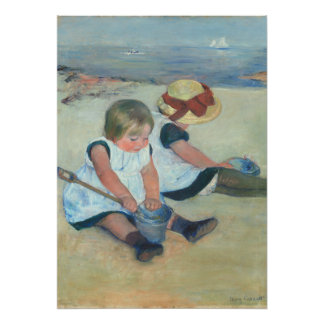 Two Children Playing On Beach Vintage Oil Painting Poster