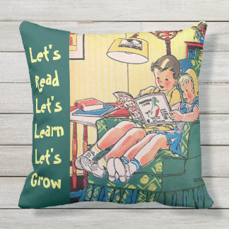 Two Children Reading Books Home Library Learning Outdoor Pillow