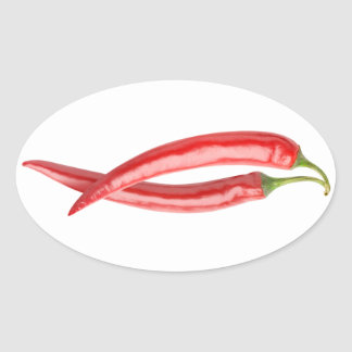 Two chillies oval sticker