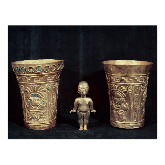 Two Chimu vases with mythological figures Postcard