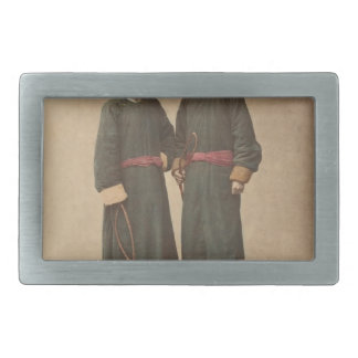 Two Chinese Men in Matching Traditional Dress Belt Buckle
