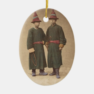 Two Chinese Men in Matching Traditional Dress Ceramic Ornament