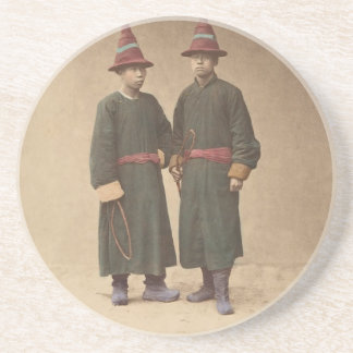 Two Chinese Men in Matching Traditional Dress Coaster