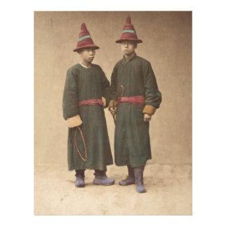 Two Chinese Men in Matching Traditional Dress Letterhead
