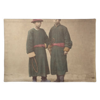 Two Chinese Men in Matching Traditional Dress Placemat