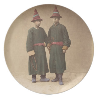 Two Chinese Men in Matching Traditional Dress Plate