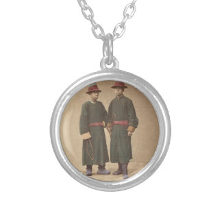 Two Chinese Men in Matching Traditional Dress Silver Plated Necklace