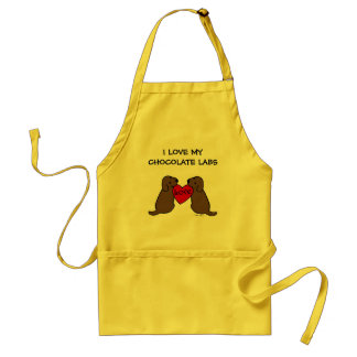 Two Chocolate Labradors with Love Cartoon Aprons