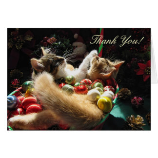 Two Christmas Kitty Cats, Kittens, Love, Thank You Greeting Card