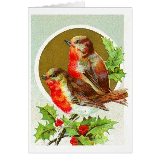 Two Christmas robins Card