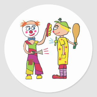 Two Circus Clowns Classic Round Sticker