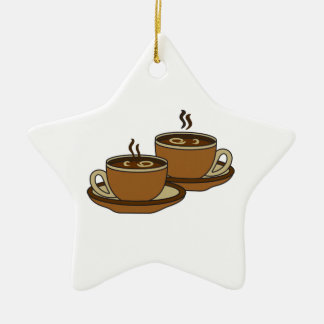 TWO COFFEE CUPS CERAMIC ORNAMENT