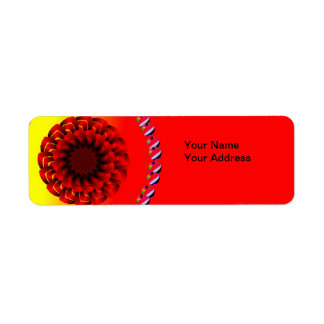 Two Color Flower Label Return Address Label