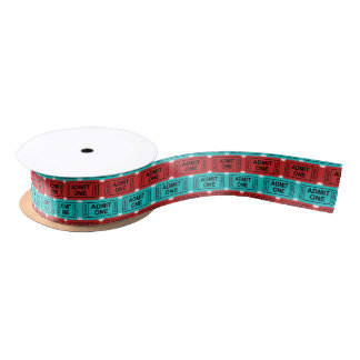 Two color movie ticket pattern party ribbon satin ribbon