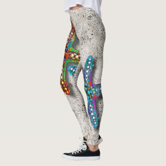 Two Colorful Abstract Psychedelic Starfish Drawing Leggings