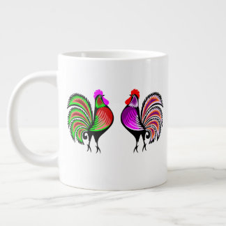Two Colorful Alert Roosters Large Coffee Mug