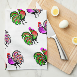 Two Colorful Alert Roosters Pattern Kitchen Towel