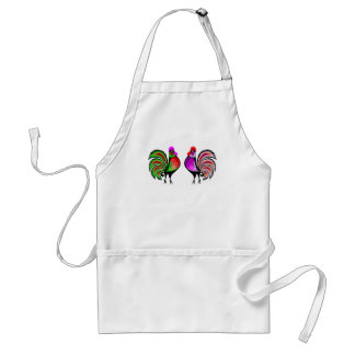 Two Colorful Alert Roosters Standard Apron