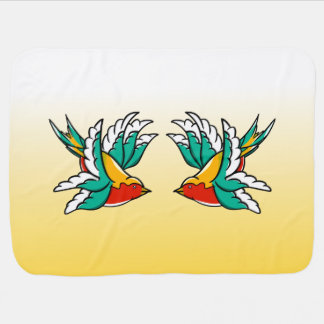 Two Colorful Flying Swallows Tattoo Inspired Stroller Blanket