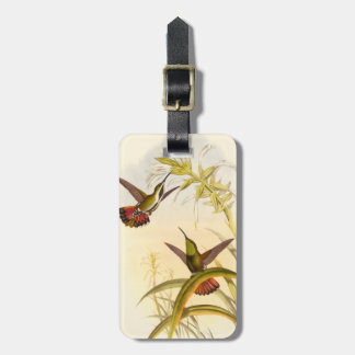 Two Colorful Hummingbirds Aiming for Same Flower Luggage Tag