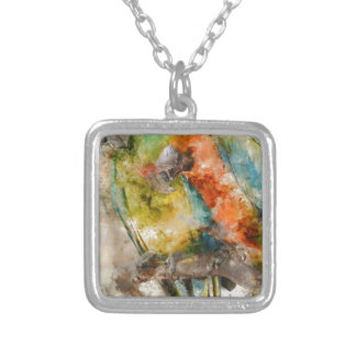 Two Colorful Macaws Silver Plated Necklace