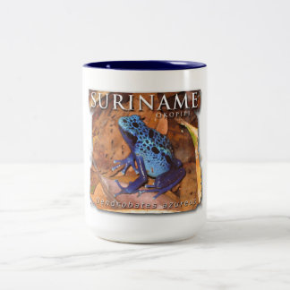 Two-colour mug with blue frog
