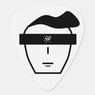 Two-coloured portrait of an anonymous face guitar pick