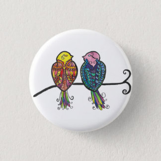 Two Colourful Birds 1 Inch Round Button