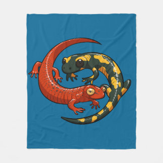 Two Colourful Smiling Salamanders Entwined Cartoon Fleece Blanket