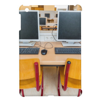 Two computers in classroom on high school case for the iPad mini