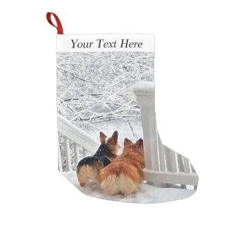 Two Corgis in the snow Small Christmas Stocking
