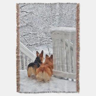 Two Corgis in the Snow Throw