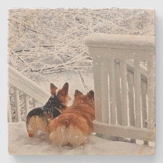 Two Corgis in Winter Stone Beverage Coaster