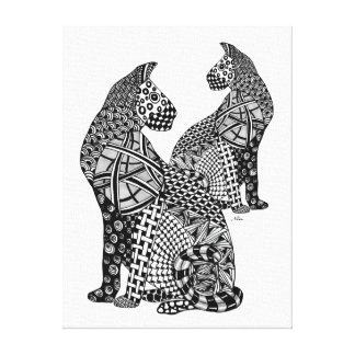 Two Cougar Cats in Black and White Tangled Design Canvas Print