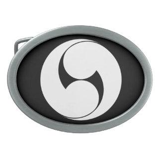 Two counterclockwise swirls (Jinuki) Oval Belt Buckles