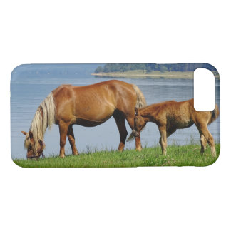 Two Countryside Horses Grazing by Lake Photograph Case-Mate iPhone Case