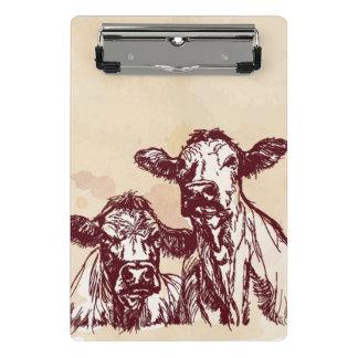 Two cows hand draw sketch & watercolor vintage