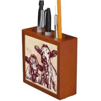 Two cows hand draw sketch watercolor vintage Pencil/Pen holder