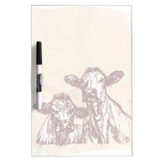 Two cows hand draw sketch & watercolor vintage dry erase white board