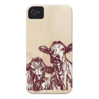 Two cows hand draw sketch & watercolor vintage iPhone 4 Case-Mate case